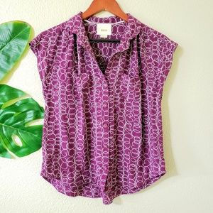 Anthropologie Maeve Brand Purple Swirl Blouse